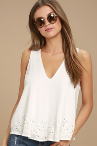 Vacay Vision White Lace Top