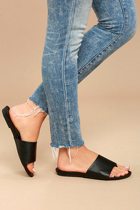 Analia Black Slide Sandals