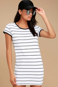 Rhythm Essentials Blue and White Striped Shirt Dress