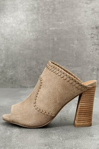 Report Marlo Taupe Suede Peep-Toe Mules