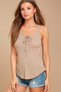 White Crow Play With Fire Beige Lace-Up Tank Top