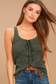 White Crow Play With Fire Olive Green Lace-Up Tank Top