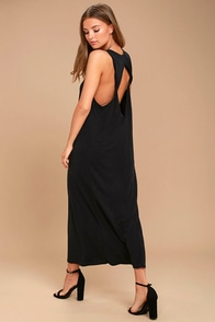 PPLA Pearl Washed Black Maxi Dress
