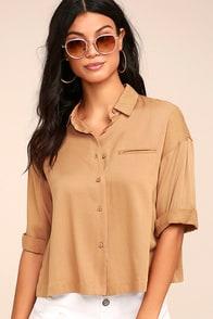She's Got Class Light Brown Button-Up Crop Top