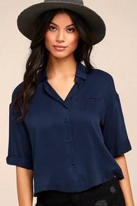 She's Got Class Navy Blue Button-Up Crop Top