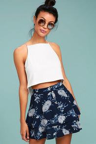 Won't Let Go Navy Blue Floral Print Mini Skirt