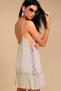 PPLA Gia Light Beige Lace-Up Dress