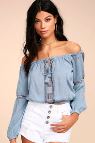 Jude Denim Blue Embroidered Off-the-Shoulder Crop Top
