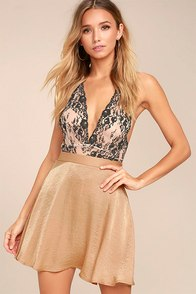 Sensational Nude Satin Skater Skirt
