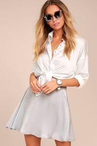 Sensational Grey Satin Skater Skirt
