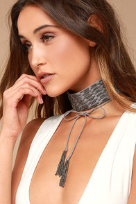 New Friends Colony Parisian Grey Beaded Choker Necklace