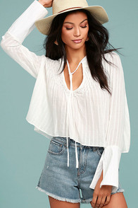 Lombard Street White Long Sleeve Crop Top