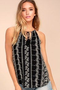 Stargazer Black Embroidered Top