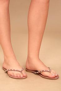 Laveda Blush Suede Pearl Flip Flops