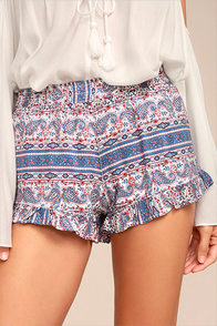 Rhythm Arabella Blue Print Shorts