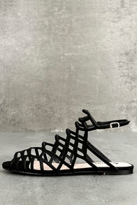 Ansley Black Suede Gladiator Sandals