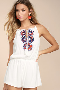Barcelona Beauty Ivory Embroidered Romper