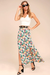 Lucy Love Aloha Gangster White Floral Print Maxi Skirt