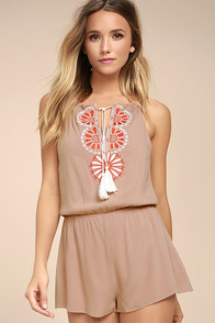 Barcelona Beauty Blush Pink Embroidered Romper