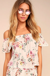 Glad Tidings White Floral Print Off-the-Shoulder Crop Top