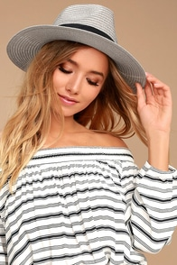 On the Shore Grey Straw Hat