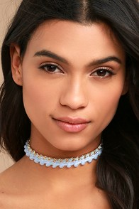 Ettika Pale Poms Light Blue Choker Necklace
