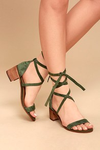 Steve Madden Rizzaa Olive Suede Leather Heeled Sandals