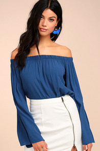 Campfire Songs Royal Blue Off-the-Shoulder Top