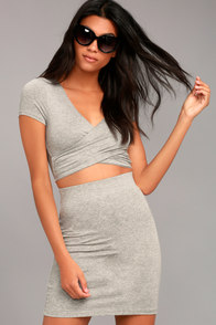 By Your Side Heather Grey Two-Piece Dress