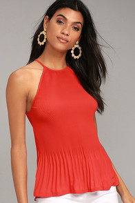 Love Forever Red Pleated Tank Top
