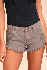 Collectively Cool Washed Mauve Distressed Cutoff Denim Shorts