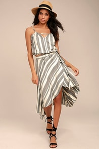 O'Neill X Natalie Off Duty Savi Beige and Black Striped Skirt