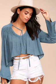 Lombard Street Denim Blue Long Sleeve Crop Top