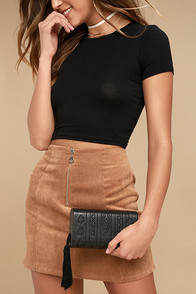Cassidy Black Embroidered Clutch