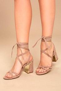 Ailsa Mauve Suede Lace-Up Heels