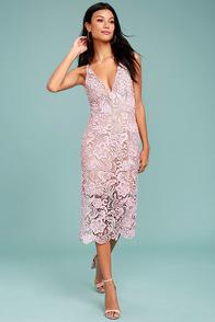 Dress the Population Marie Blush Pink Lace Midi Dress