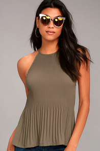 Love Forever Taupe Pleated Tank Top