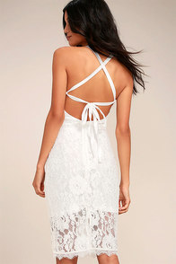 Wishful Wanderings White Lace Bodycon Midi Dress