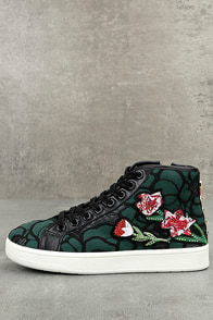 Steve Madden Allie Green Multi Embroidered High-Top Sneakers