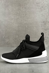 Kendall + Kylie Braydin3 Black Hidden Wedge Sneakers