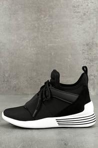 Kendall + Kylie Braydin3 Black Hidden Wedge Sneakers