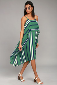 J.O.A. Courtyard Green Striped Midi Dress