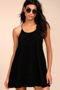 Sister Moon Black Embroidered Swing Dress