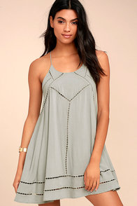 Sister Moon Grey Embroidered Swing Dress