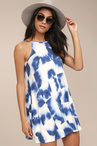 RVCA Pipe Dream Blue and White Print Swing Dress