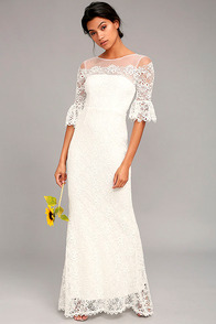 First Day of My Life White Lace Maxi Dress