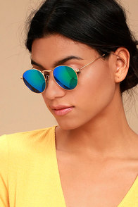 Perverse Orleans Gold and Green Mirrored Sunglasses