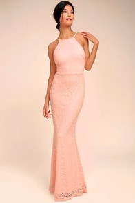 Ephemeral Allure Peach Lace Maxi Dress
