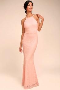 Ephemeral Allure Peach Lace Maxi Dress