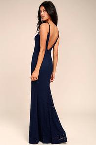 Ephemeral Allure Navy Blue Lace Maxi Dress